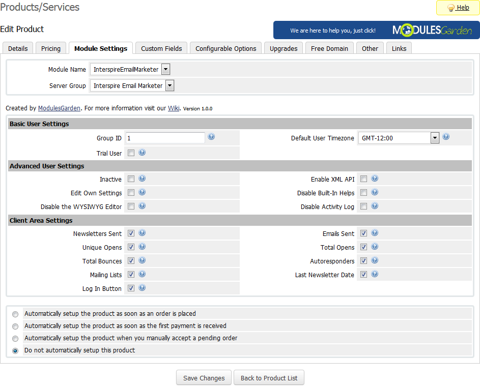 Interspire Email Marketer For WHMCS: Screen 3