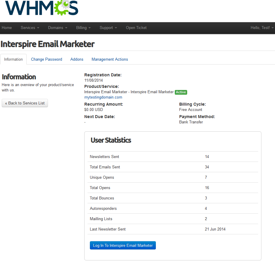 Interspire Email Marketer For WHMCS: Screen 1