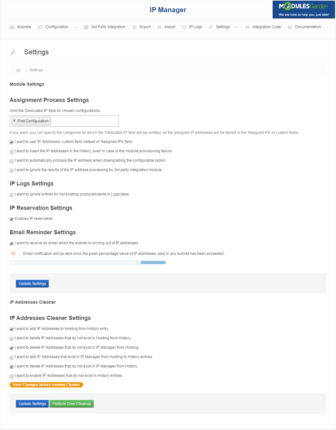 IP Manager For WHMCS: Screen 15