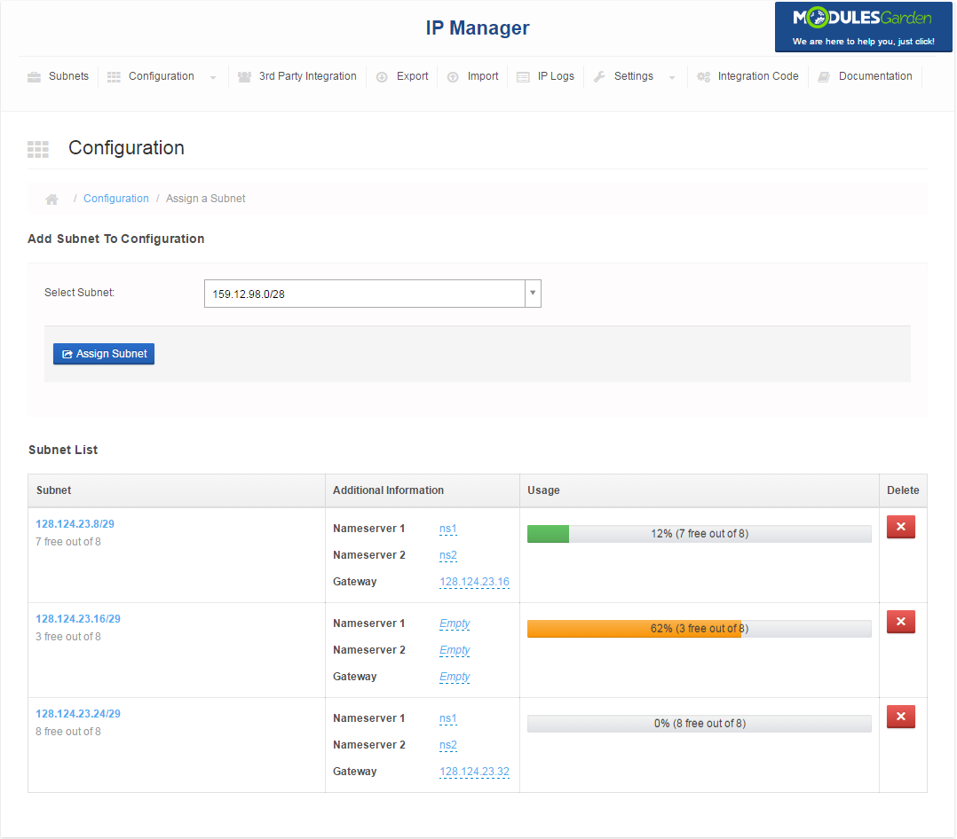 IP Manager For WHMCS: Screen 8