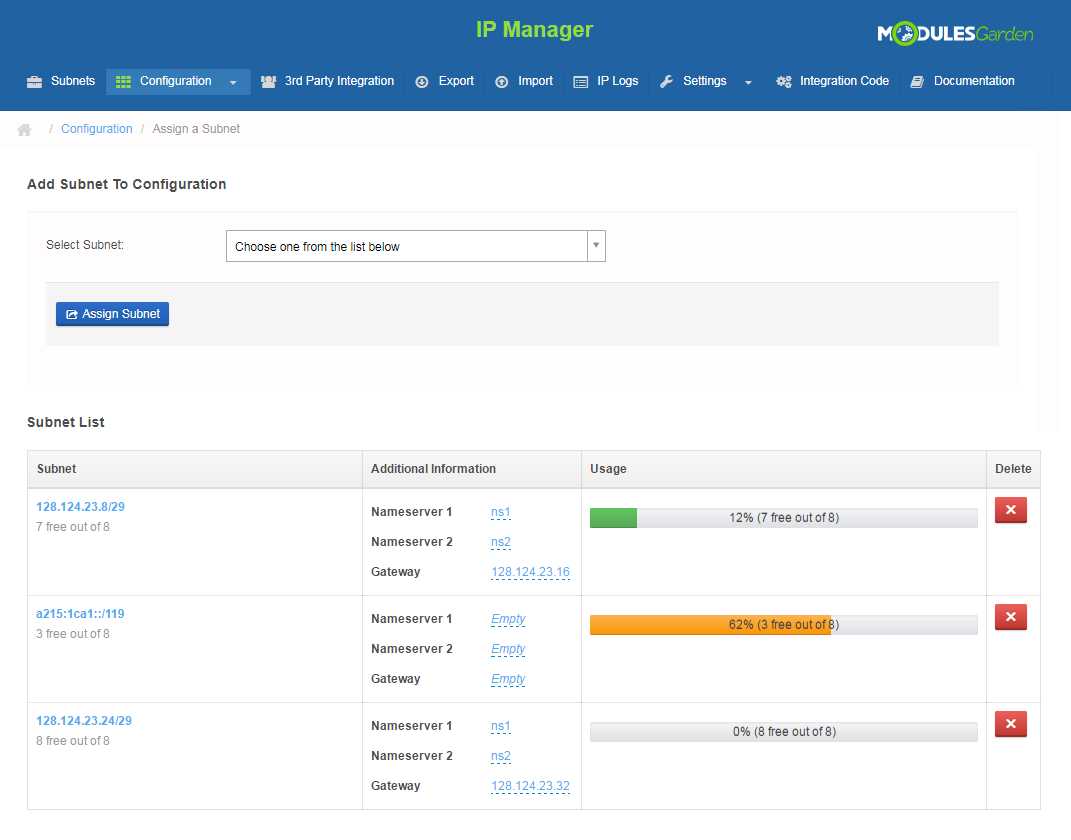 IP Manager For WHMCS: Screen 10
