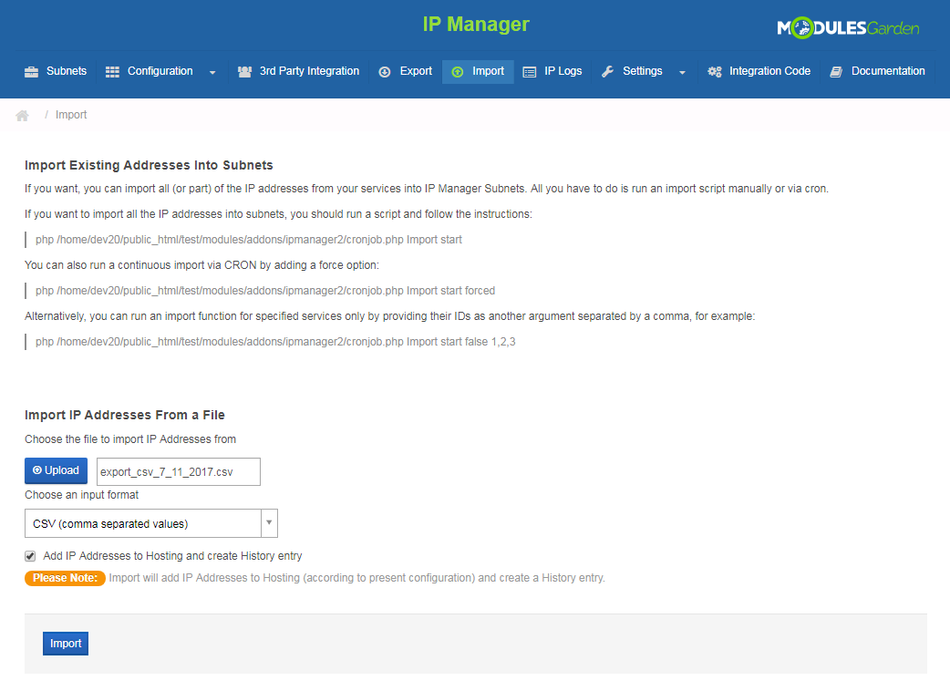 IP Manager For WHMCS: Screen 16