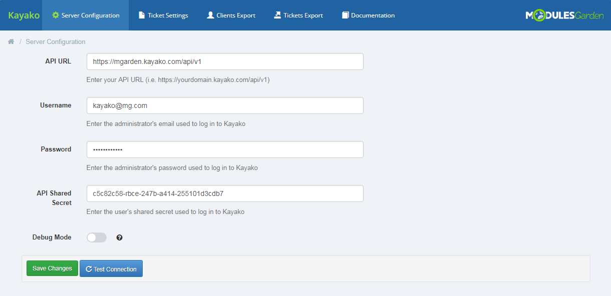 Kayako For WHMCS: Module Screenshot 6