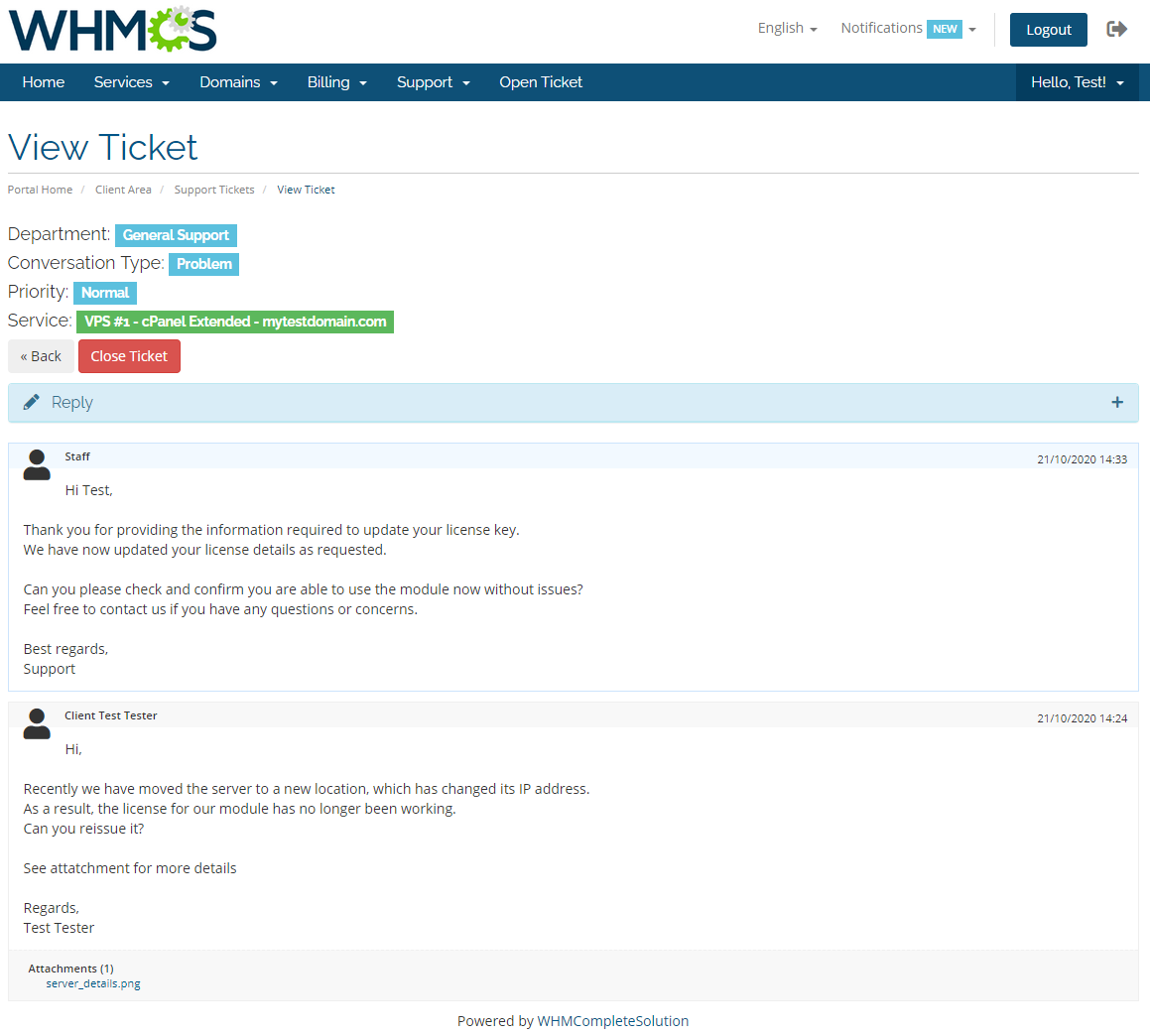 Kayako For WHMCS: Module Screenshot 4
