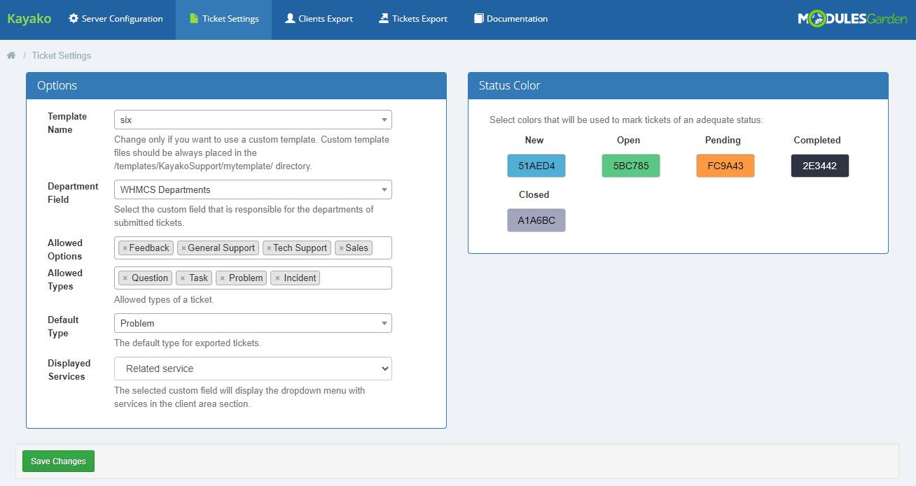Kayako For WHMCS: Module Screenshot 7