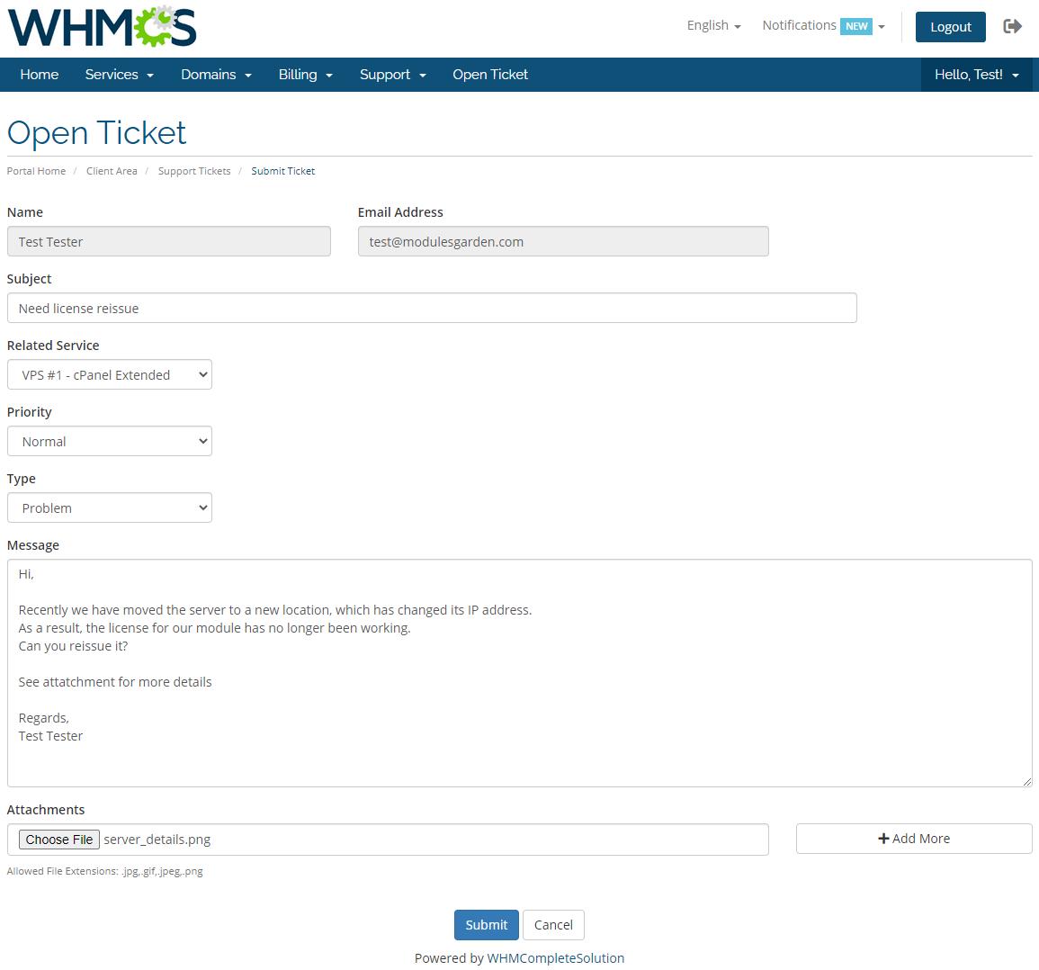 Kayako For WHMCS: Module Screenshot 1