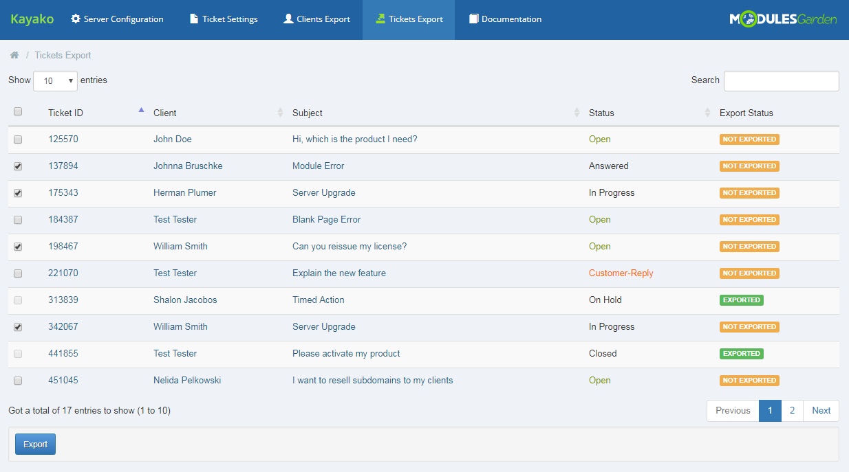 Kayako For WHMCS: Module Screenshot 10