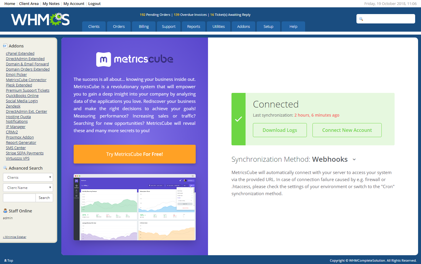 MetricsCube Connector For WHMCS: Module Screenshot 6