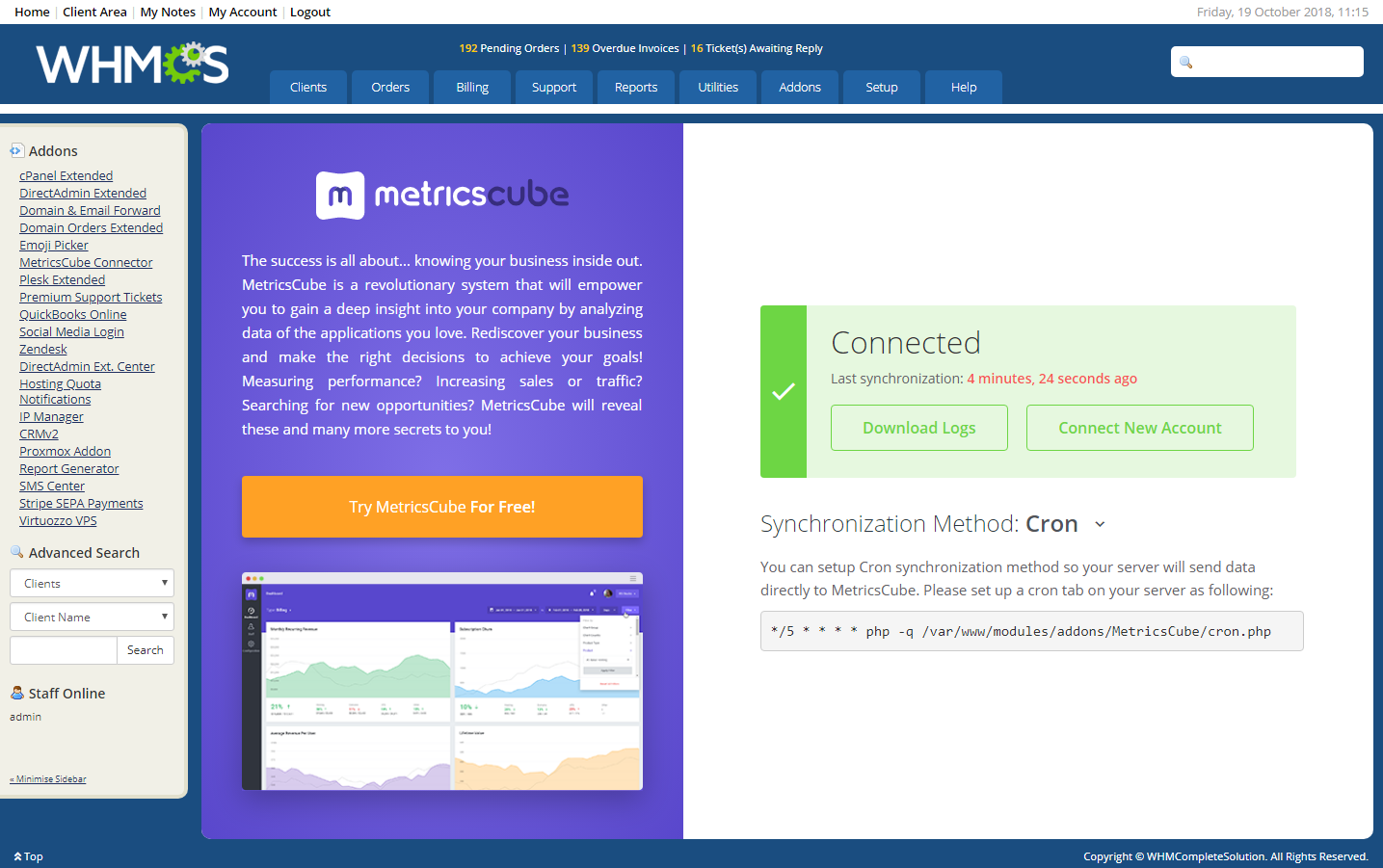 MetricsCube Connector For WHMCS: Module Screenshot 7