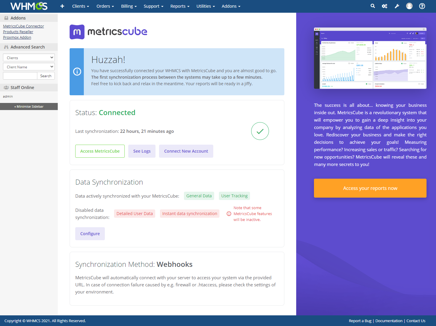 MetricsCube Connector For WHMCS: Module Screenshot 7