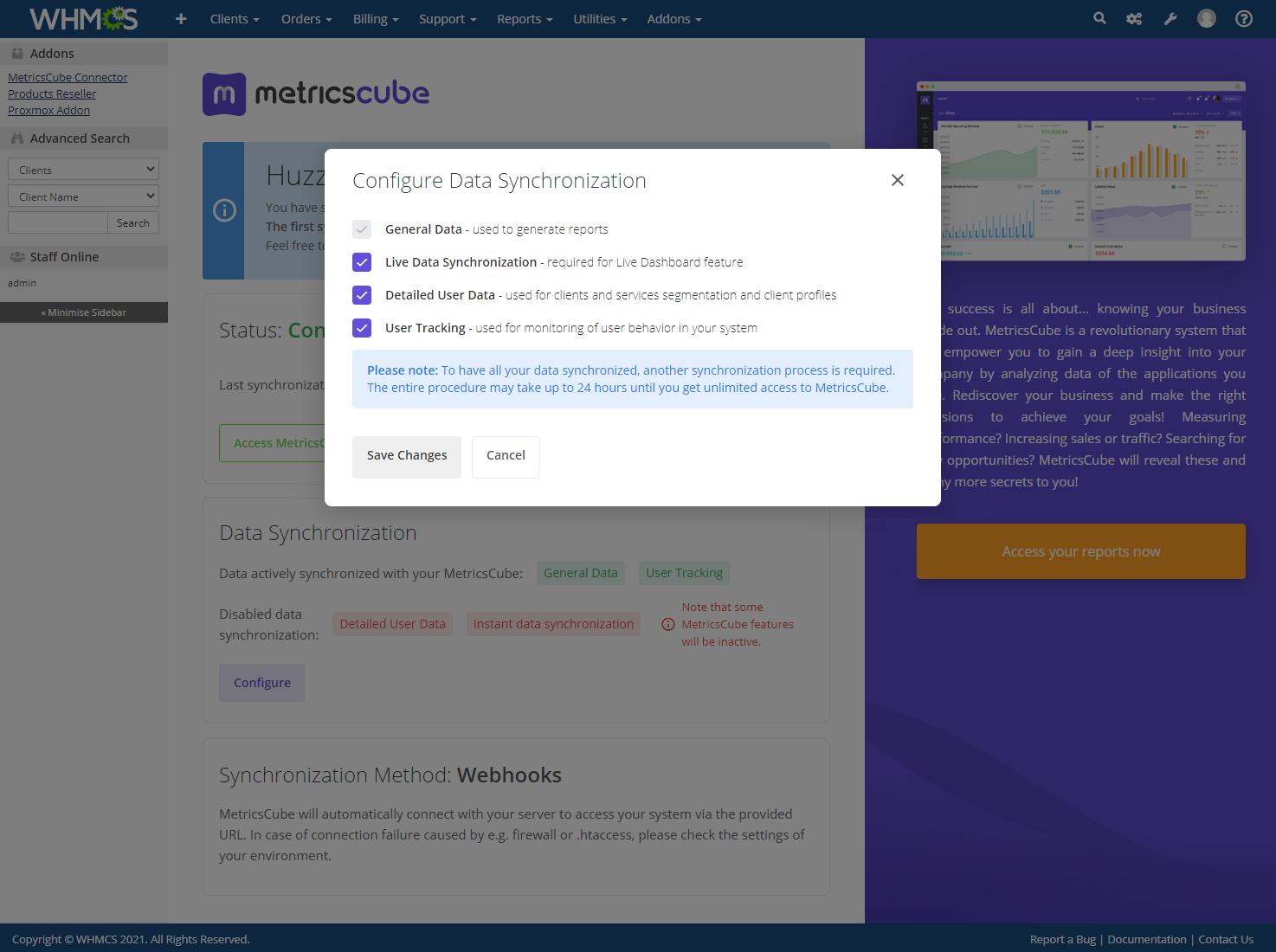 MetricsCube Connector For WHMCS: Module Screenshot 8