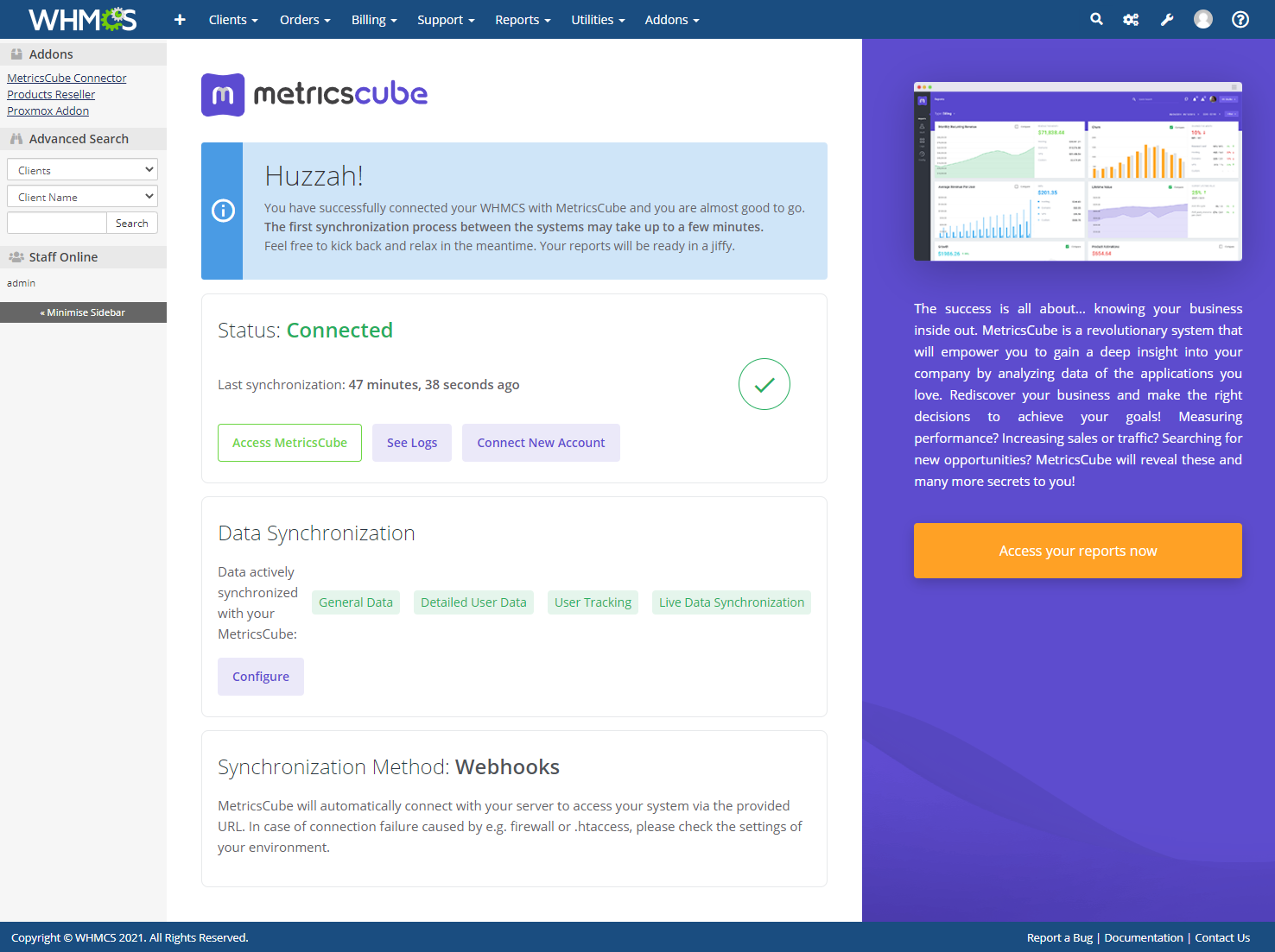 MetricsCube Connector For WHMCS: Module Screenshot 9