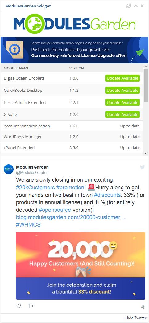 ModulesGarden Widget For WHMCS: Screen 2