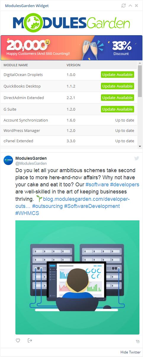 ModulesGarden Widget For WHMCS: Screen 1