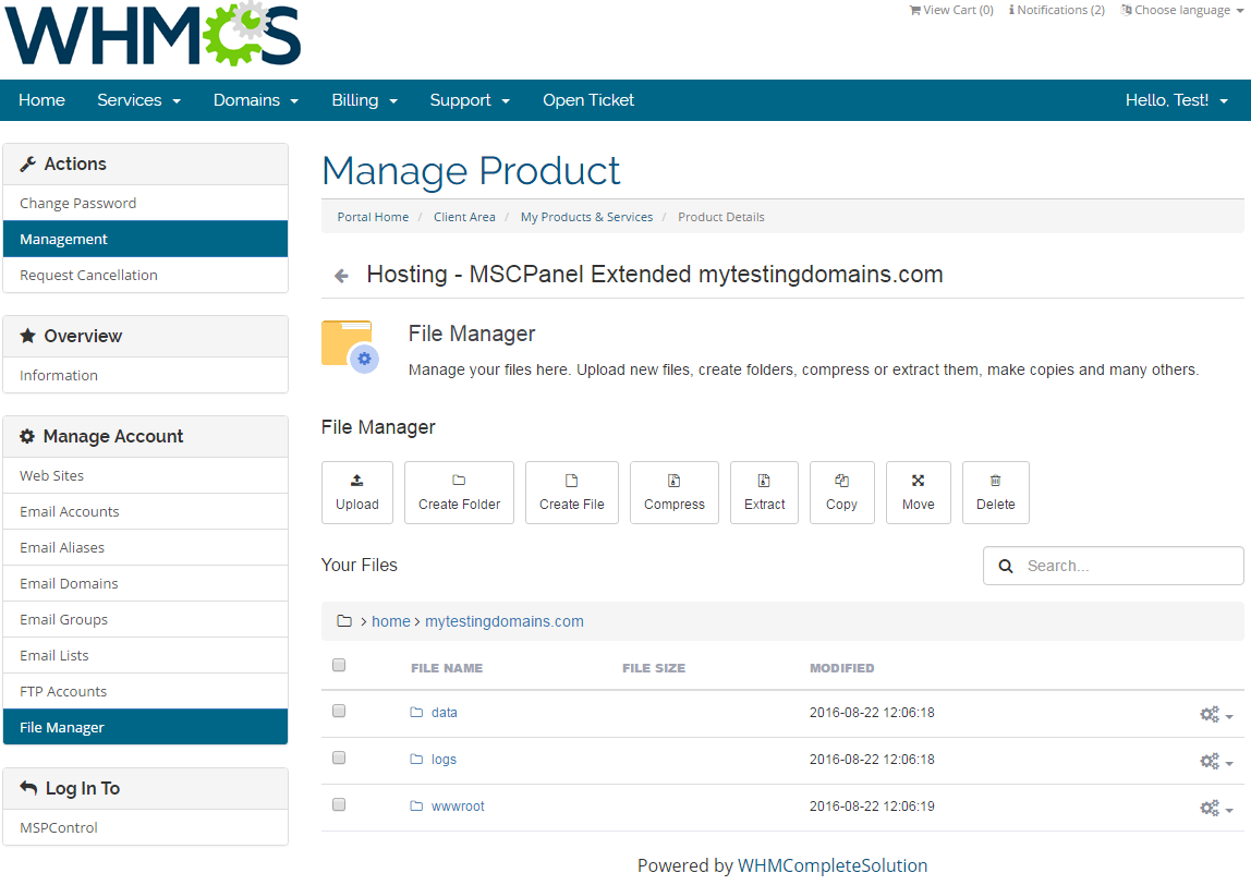 MSPControl Extended For WHMCS: Screen 8