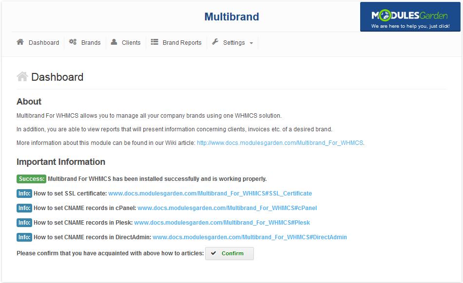 Multibrand For WHMCS: Screen 1