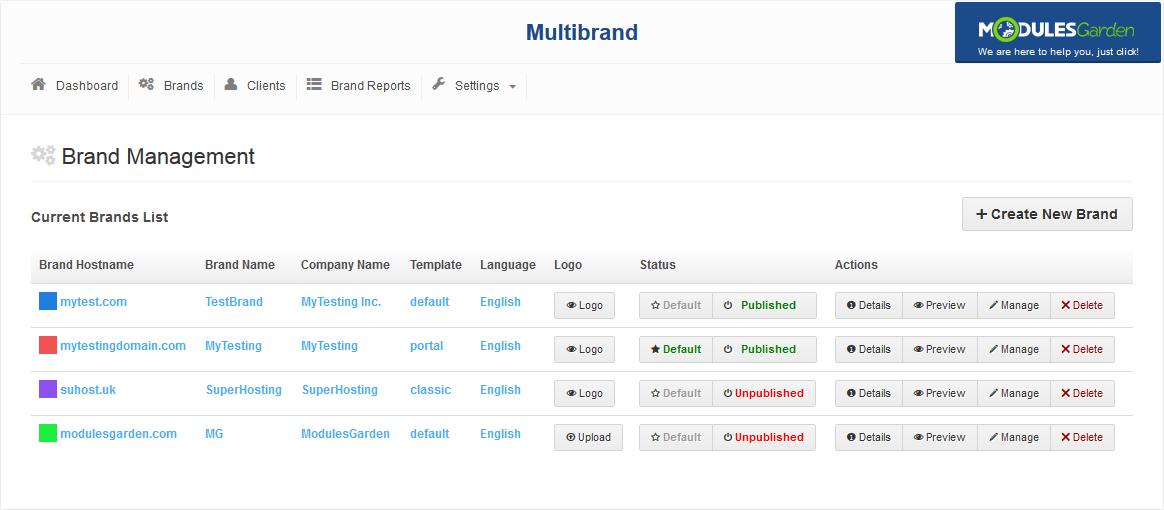 Multibrand For WHMCS: Screen 2