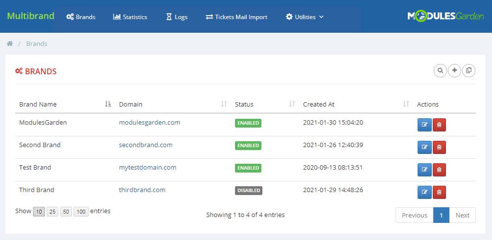 Multibrand For WHMCS: Module Screenshot 1