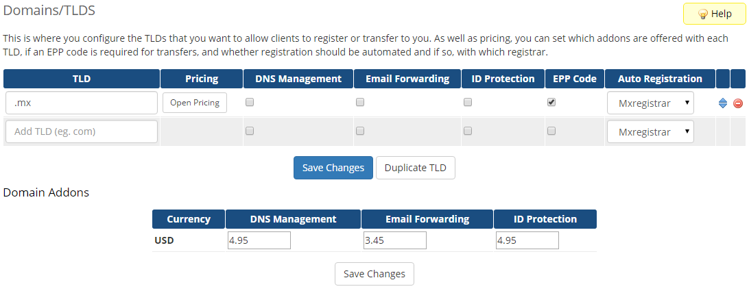 MX Registrar For WHMCS: Screen 2