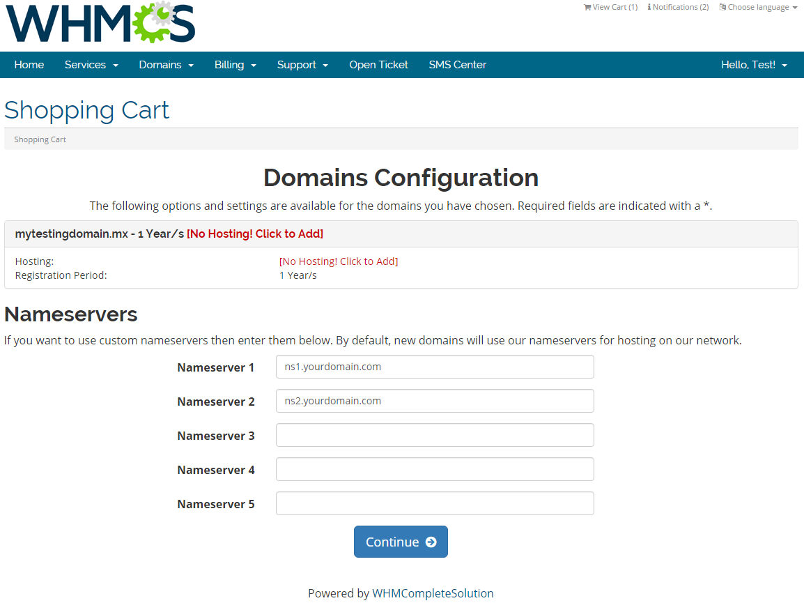MX Registrar For WHMCS: Screen 1
