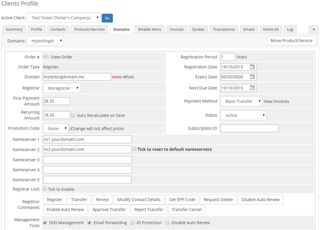 MX Registrar For WHMCS: Screen 3