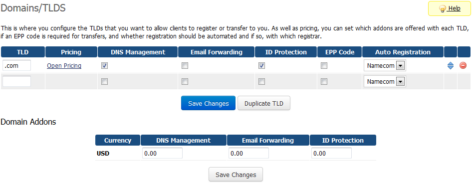 Name.com Registrar For WHMCS: Screen 3