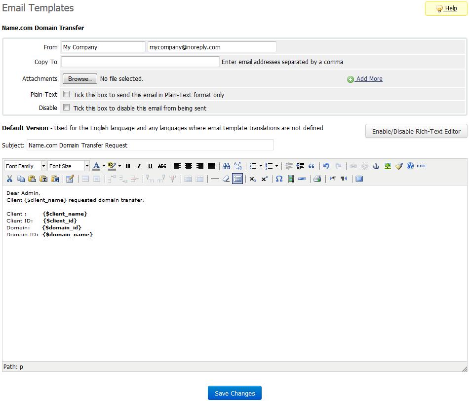Name.com Registrar For WHMCS: Screen 5
