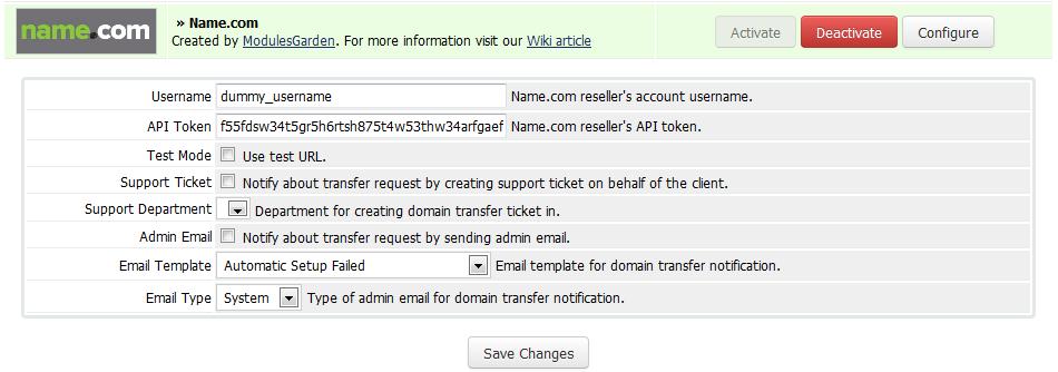 Name.com Registrar For WHMCS: Screen 1