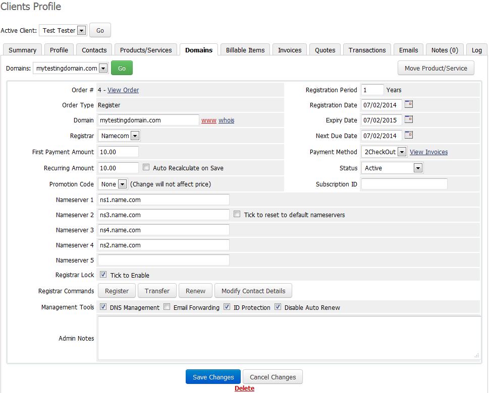 Name.com Registrar For WHMCS: Screen 2