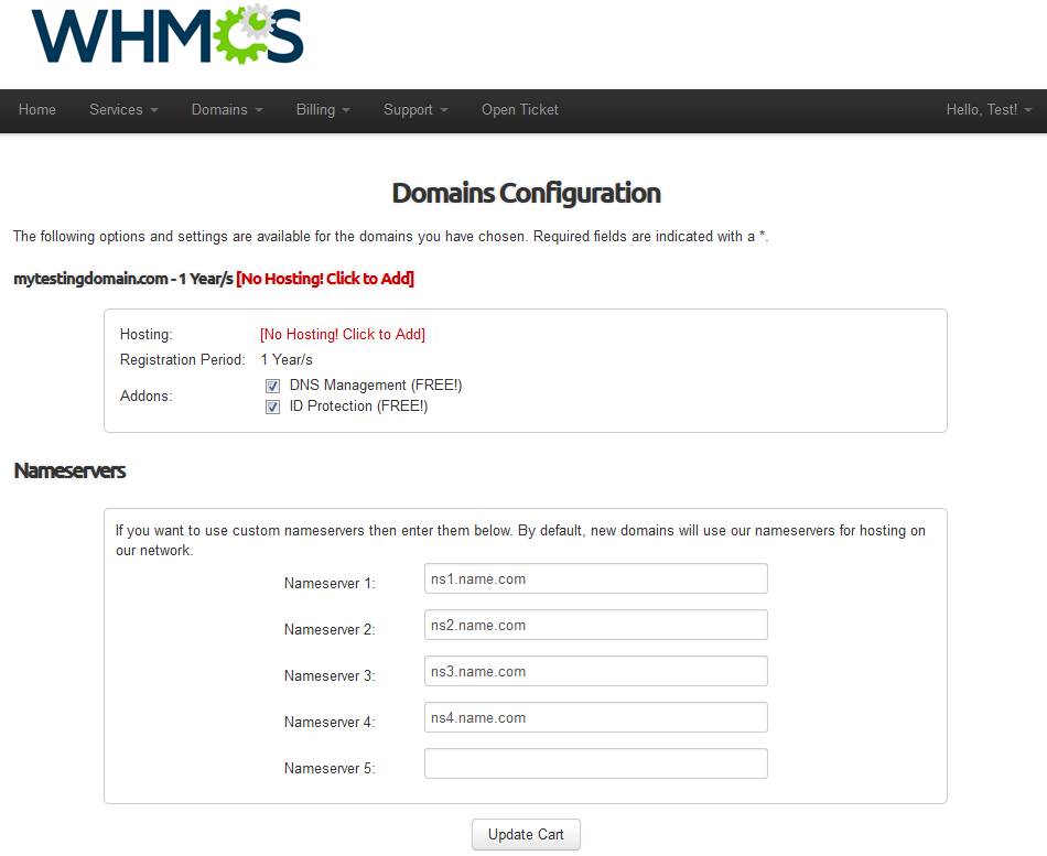Name.com Registrar For WHMCS: Screen 4