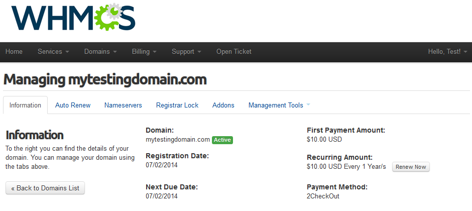 Name.com Registrar For WHMCS: Screen 6