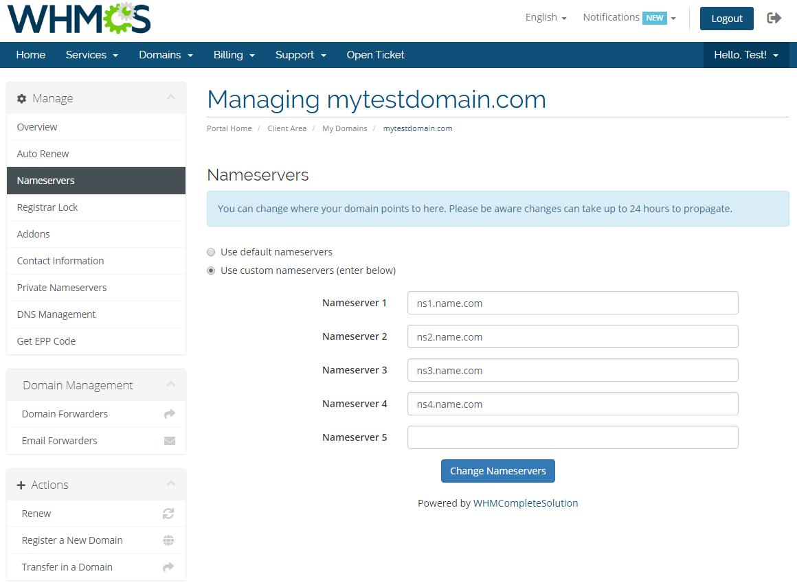 Name.com Registrar For WHMCS: Module Screenshot 8