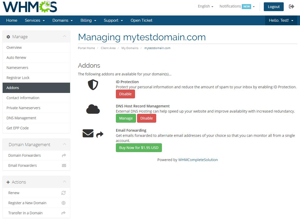 Name.com Registrar For WHMCS: Module Screenshot 10