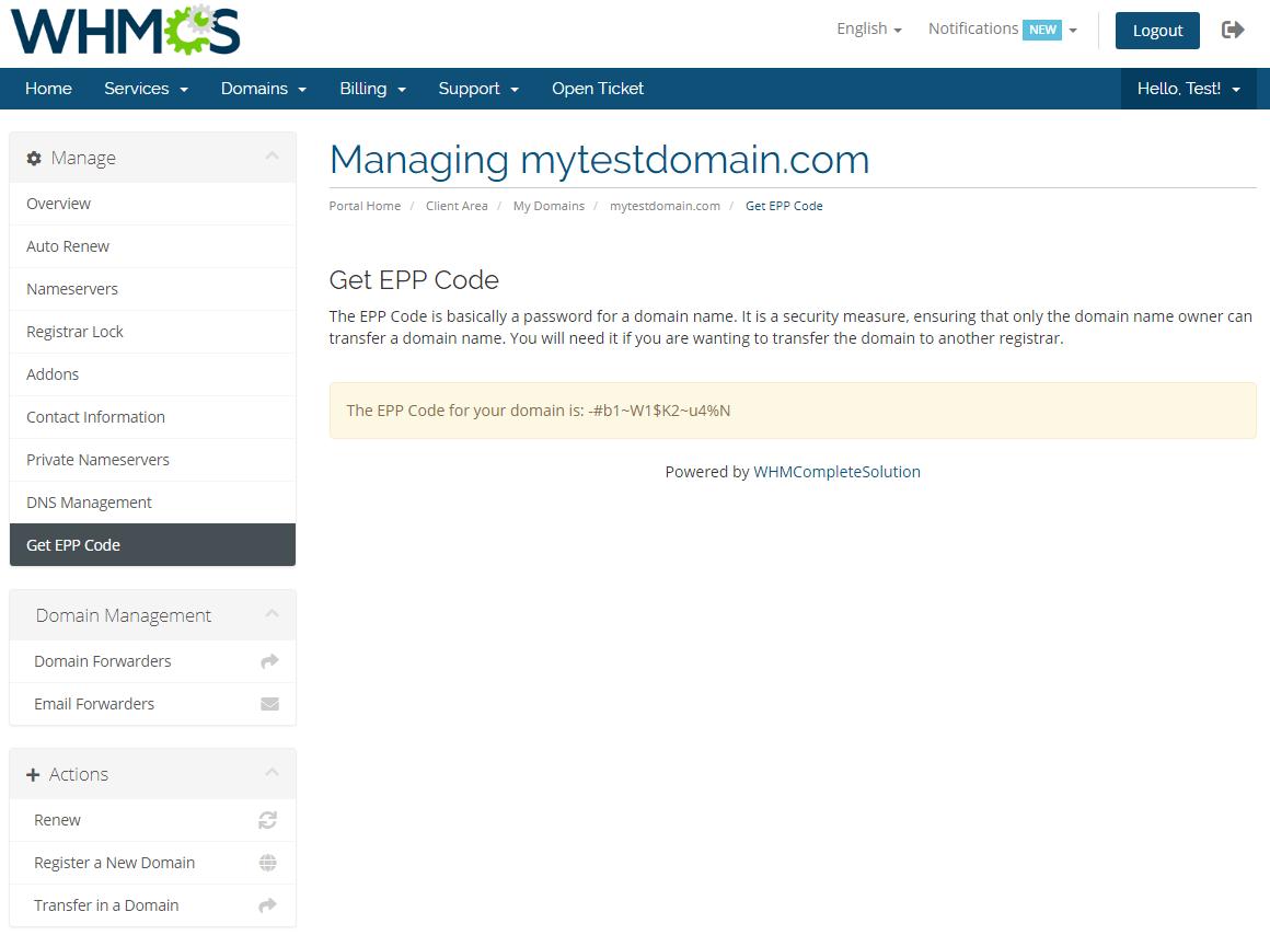 Name.com Registrar For WHMCS: Module Screenshot 14