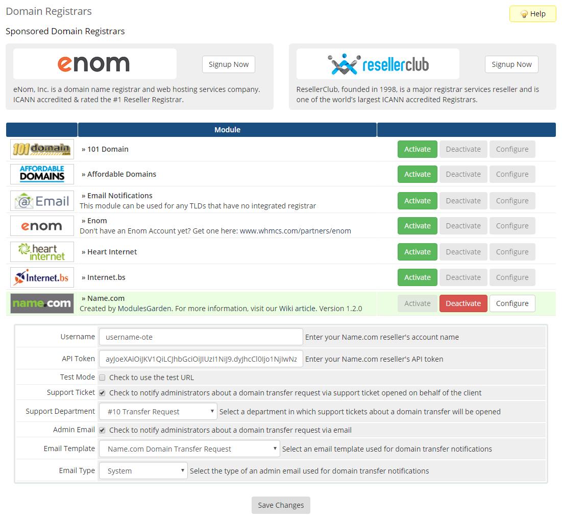 Name.com Registrar For WHMCS: Module Screenshot 1