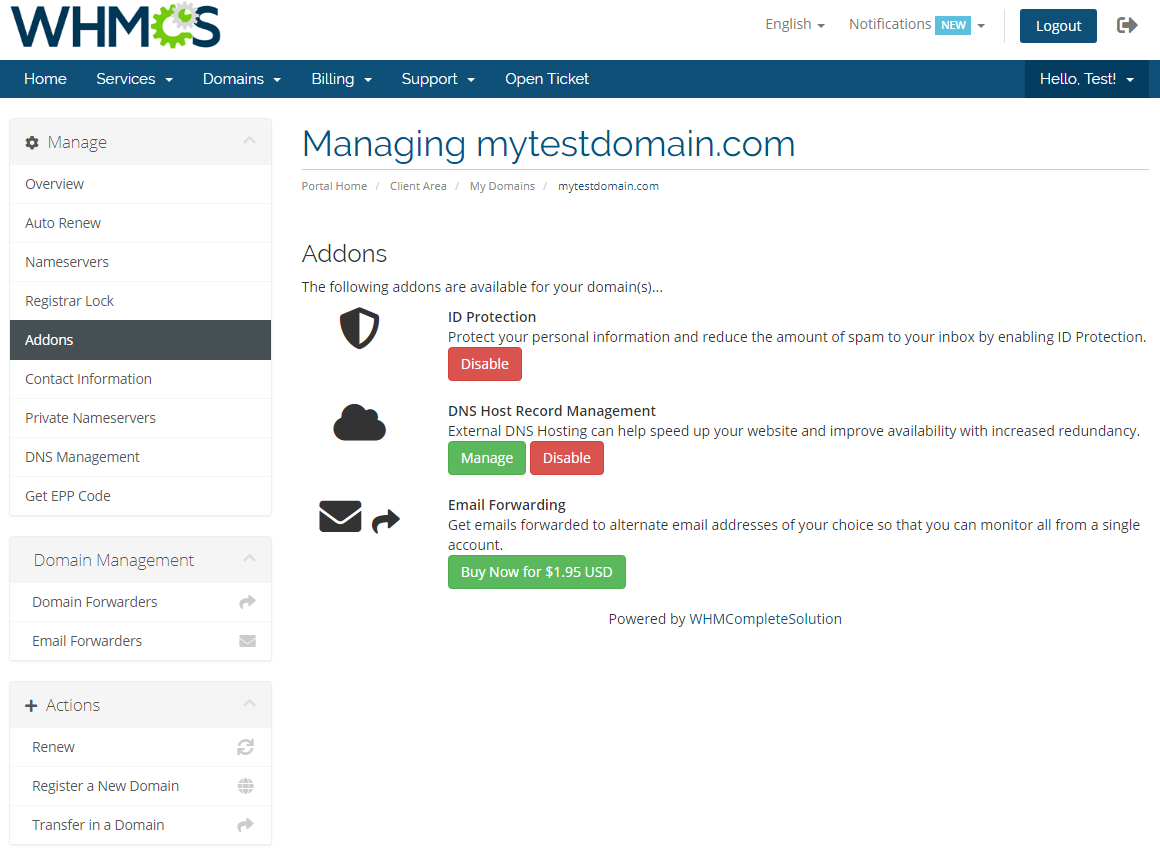 Name.com Registrar For WHMCS: Module Screenshot 10