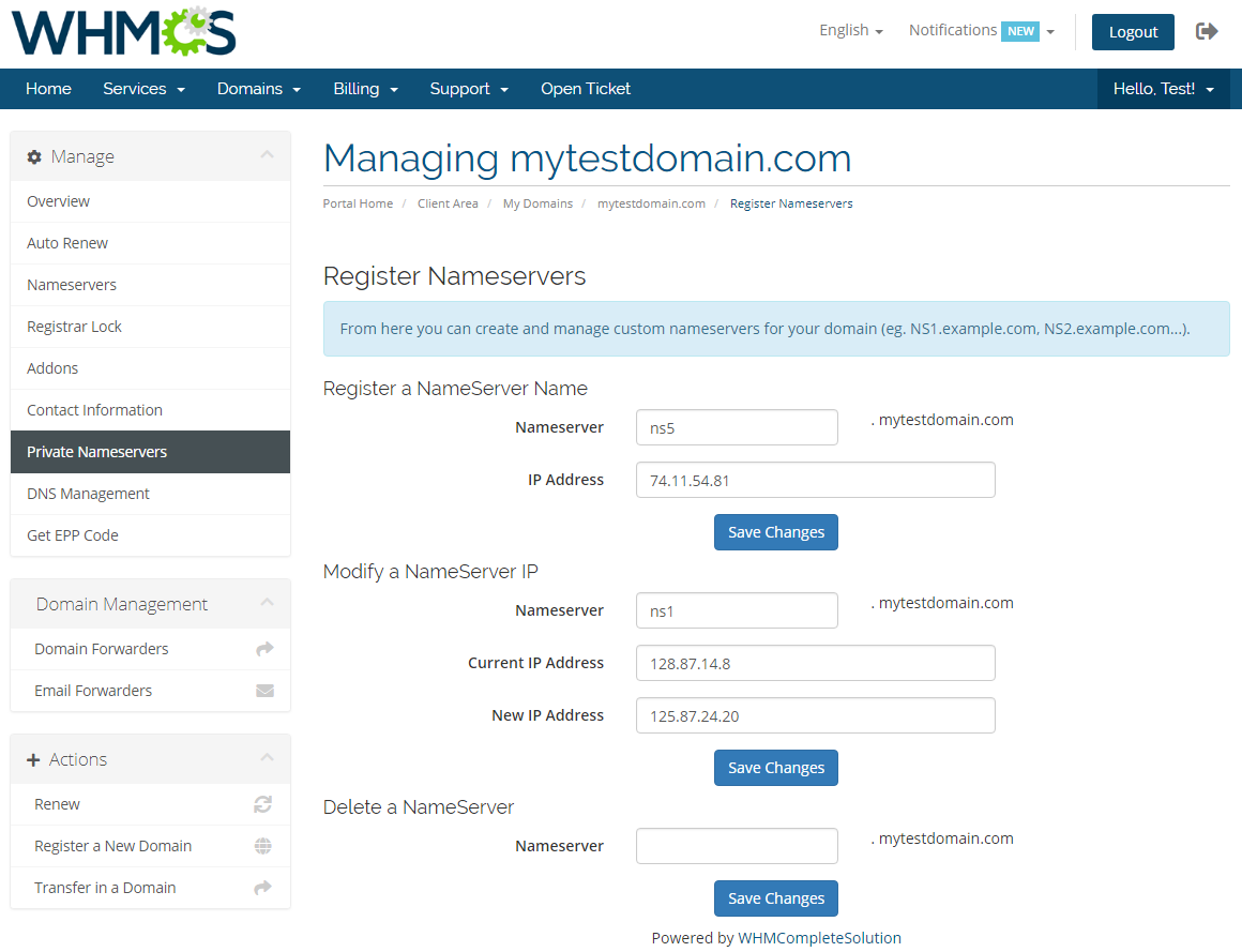 Name.com Registrar For WHMCS: Module Screenshot 12