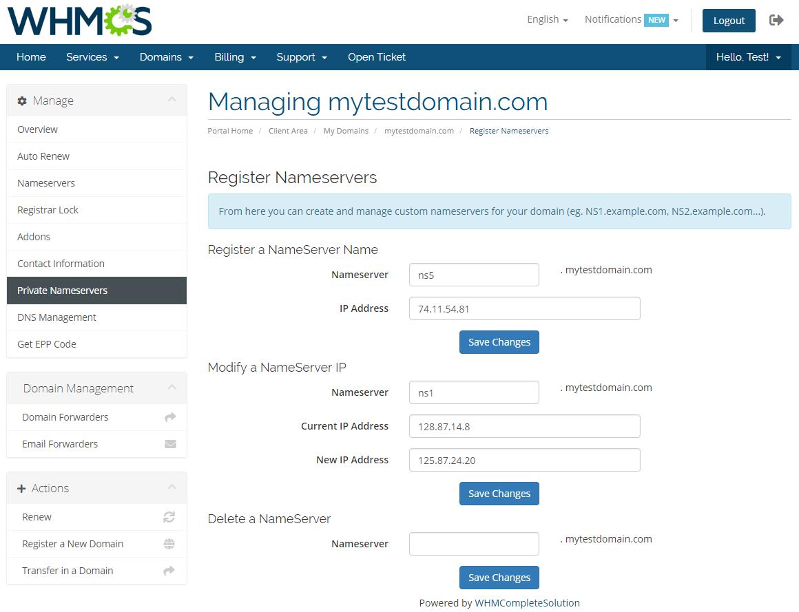 Name.com Registrar For WHMCS: Module Screenshot 12