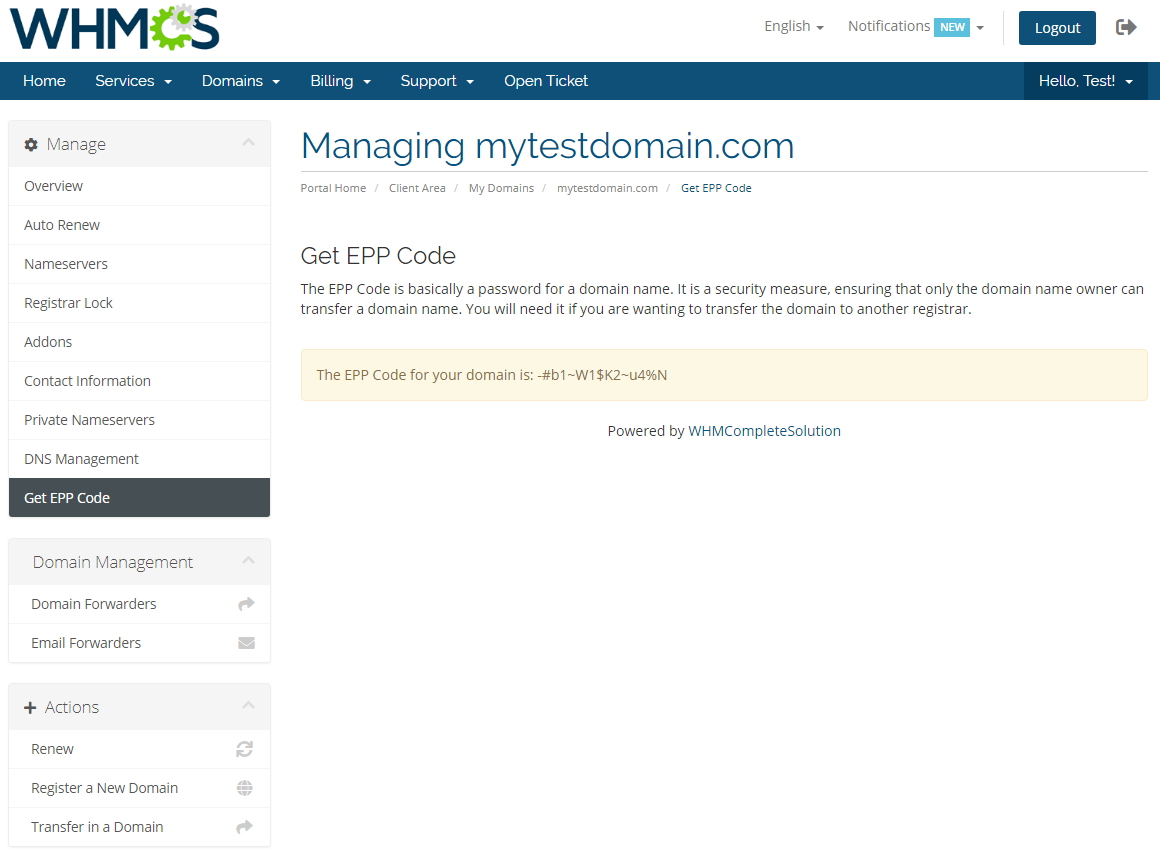 Name.com Registrar For WHMCS: Module Screenshot 14