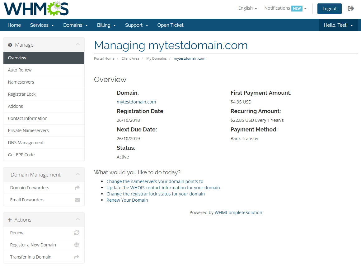 Name.com Registrar For WHMCS: Module Screenshot 6
