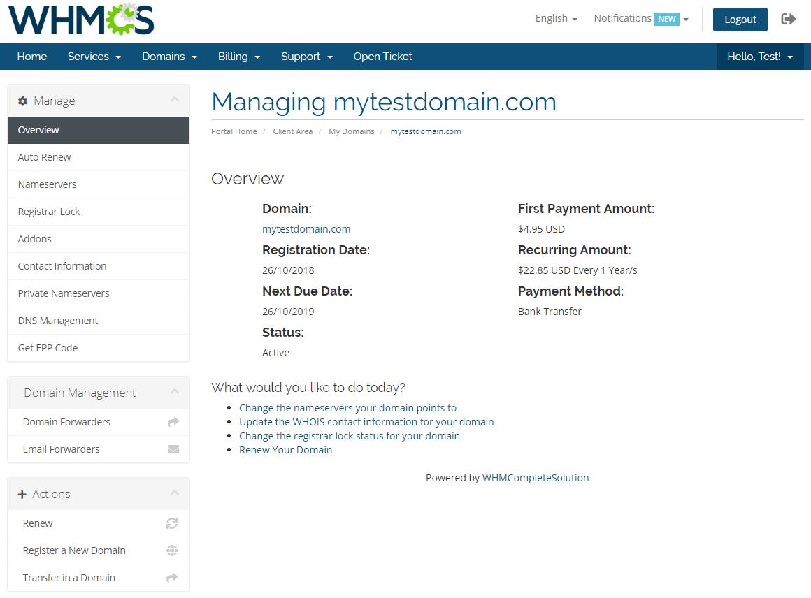 Name.com Registrar For WHMCS: Module Screenshot 6