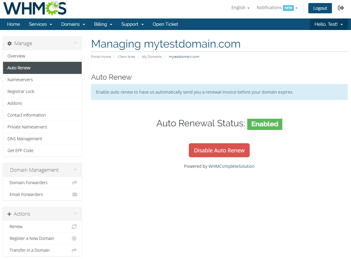 Name.com Registrar For WHMCS: Module Screenshot 7