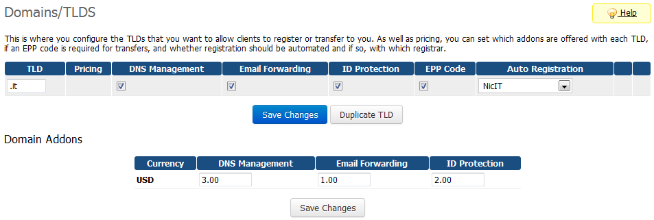 NIC IT Registrar For WHMCS: Screen 3