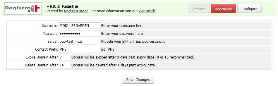 NIC IT Registrar For WHMCS: Screen 4