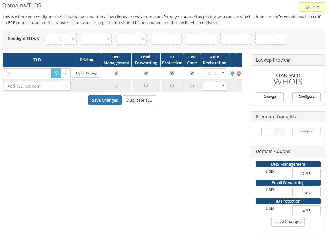 NIC IT Registrar For WHMCS: Screen 2