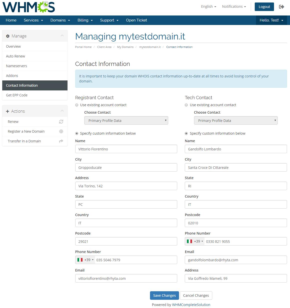 NIC IT Registrar For WHMCS: Screen 8