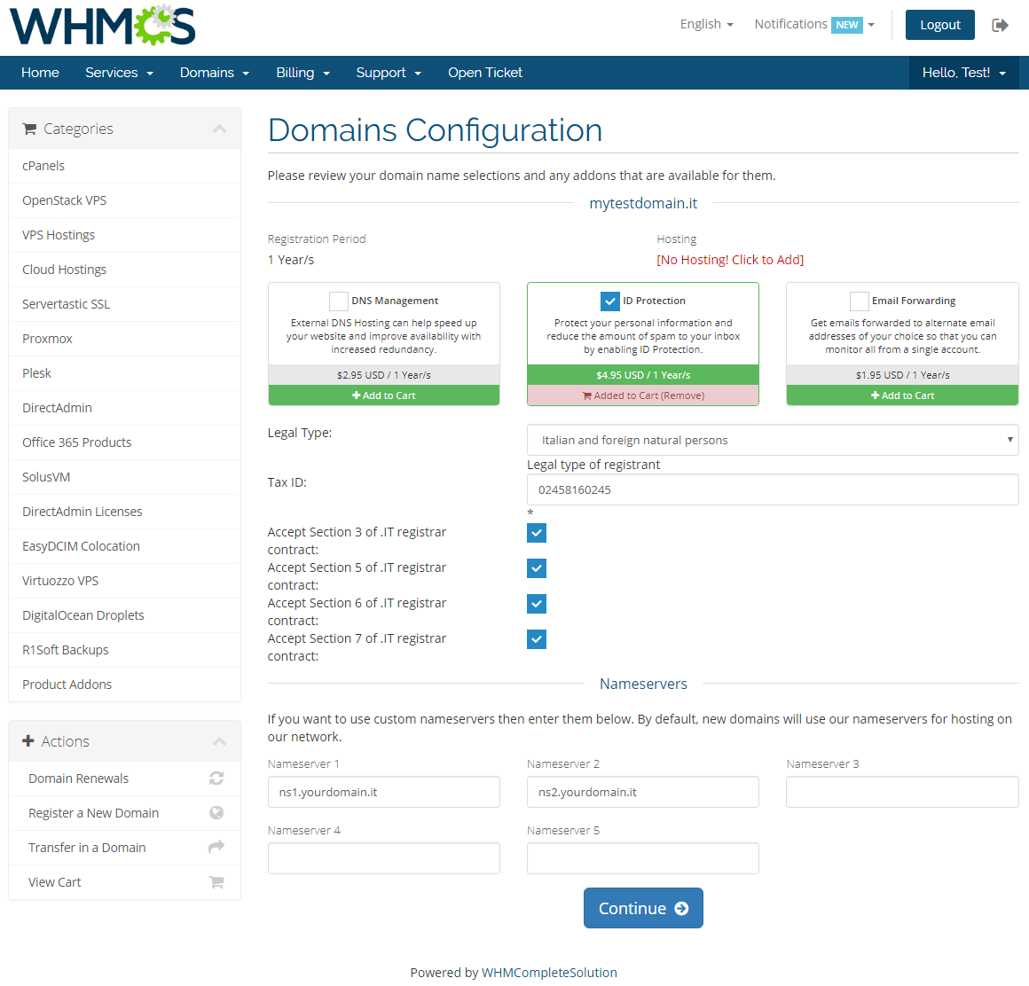 NIC IT Registrar For WHMCS: Screen 4