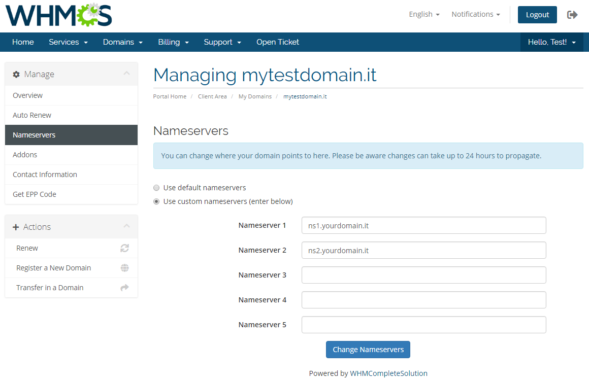 NIC IT Registrar For WHMCS: Screen 6