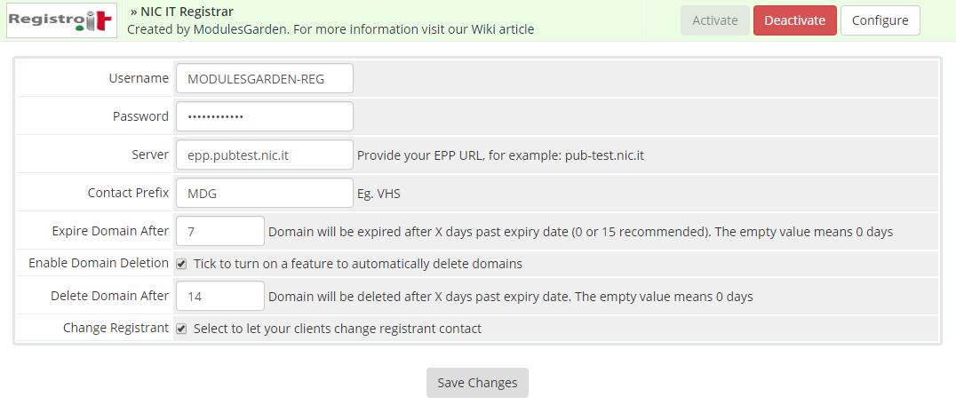 NIC IT Registrar For WHMCS: Module Screenshot 1