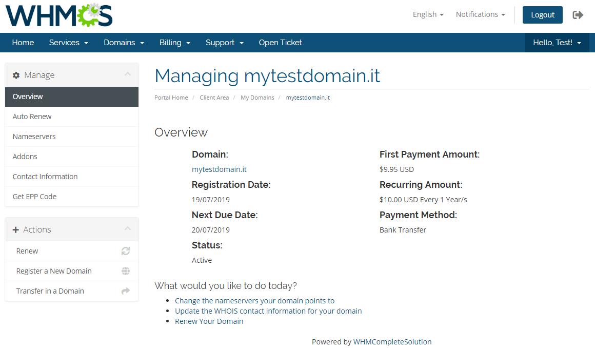 NIC IT Registrar For WHMCS: Module Screenshot 5